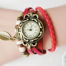 Multicolor Women Watches Leather Vintage Leaf Quartz Wristwatches Women Dress Watch Bracelet Leaf Wrist Watches foe Gift