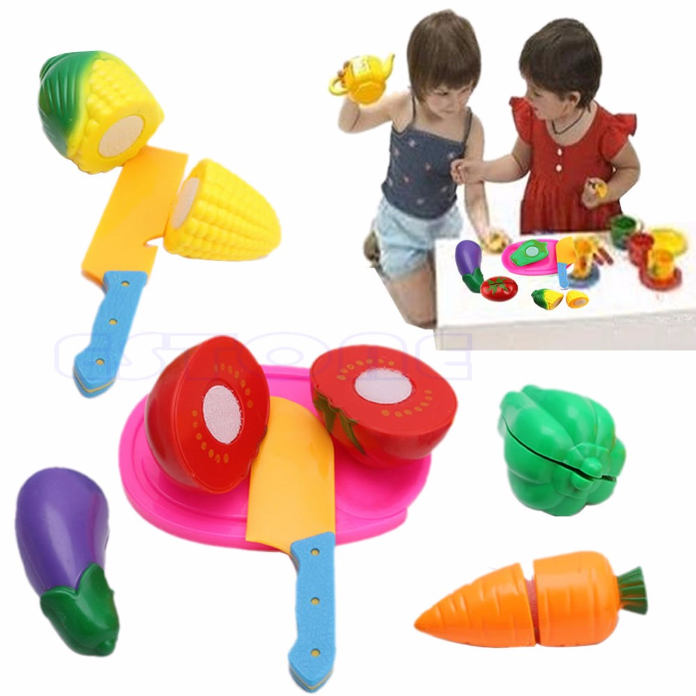 Kids Pretend Role Play Kitchen Fruit Vegetable Food Toy Cutting Child Gift Set Gift