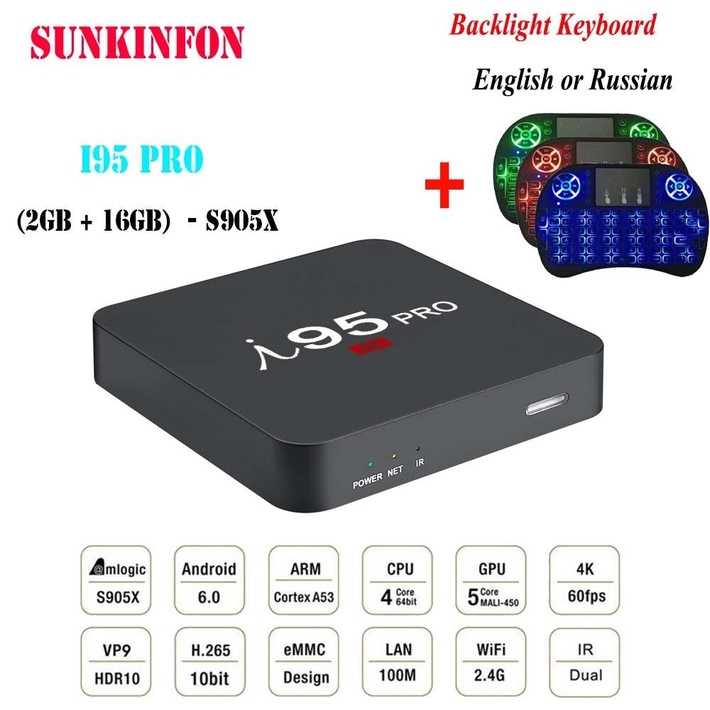 New Model SUNKINFON I95 PRO Smart Android 6.0 TV Box 2GB 16GB 4K Amlogic S905X 2.4GHz WiFi Bluetooth 4.0 PK X96 H96 PRO TV Box new phoenix 11207 b777 300er pk gii 1 400 skyteam aviation indonesia commercial jetliners plane model hobby