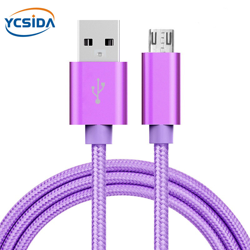 5V 2.4A USB2.0 Android micro usb nylon Charging cable,micro usb interface For vivo X21/OPPO R15/Huawei Mate 8/Samsung S7 cable