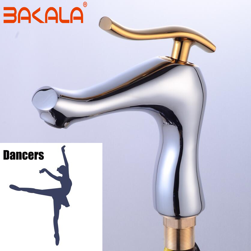 BAKALA New product Modern Bath chrome faucet Brass sanitary ware faucet Hot and cold water basin faucet Single hole basin mixer micoe brass faucet single handle single hole kitchen faucet double nozzle water mixer chrome hot and cold water rotating faucet