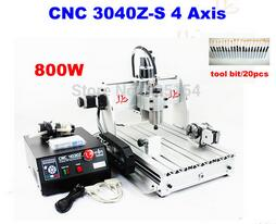 Mini cnc router cnc 3040 Z-S 800W cnc spindle CNC milling machine with rotary axis for drilling +20pcs drill bits, no tax to EU  rotary axis mini router cnc