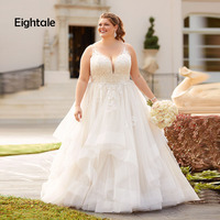 Eightale Plus Size Wedding Dresses V Neck White Lace Applique A Line Illusion Sweep Train Bridal Dress Wedding Gowns 2019
