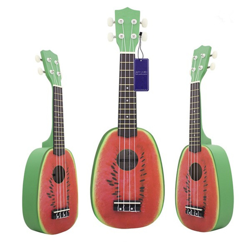 21 Inch 12 Fret 4 String Basswood Ukulele Electric Acoustic Guitar Soprano Watermelon style Ukelele For