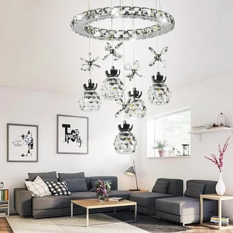 Mode postmoderne led lampe de salon lustre lampe en cristal lampe de chambre escalier hall d'entrée bar table repas lustre