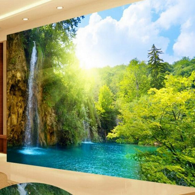 Custom large video wall murals beautiful landscape 3d for Beautiful wall mural