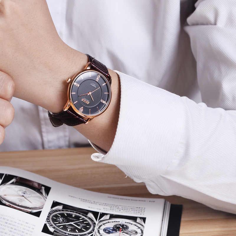 BOSCK mode étanche hommes montres Top marque de luxe célèbre homme horloge Ultra mince en cuir Quartz montre-bracelet Relogio Masculino
