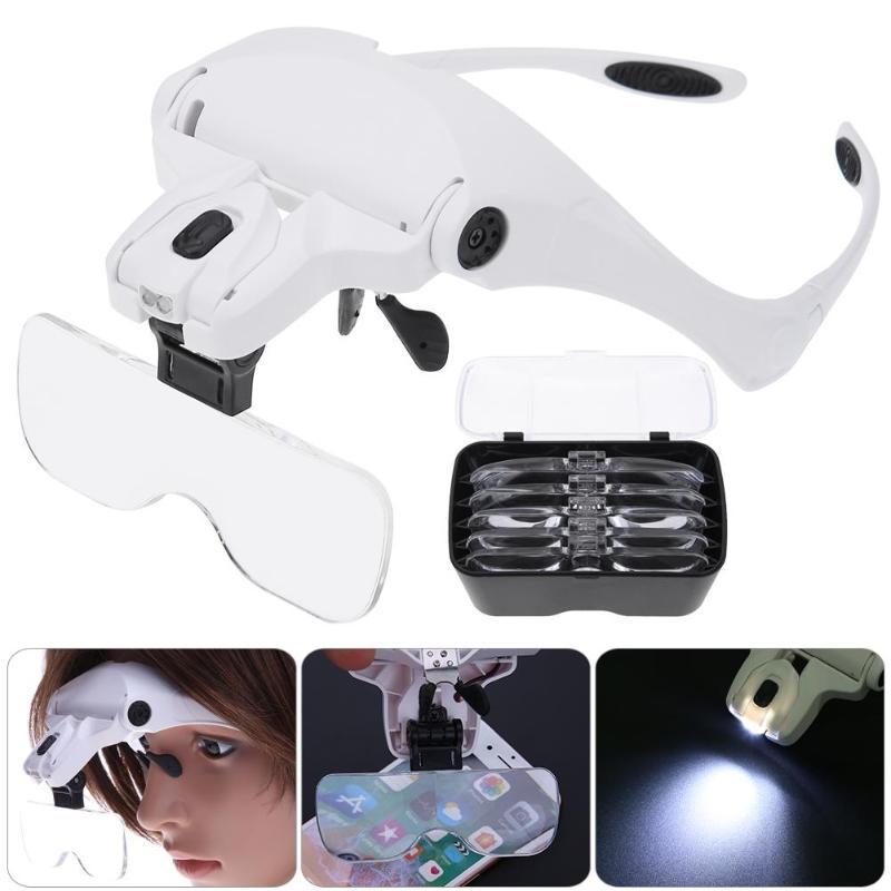 Ajustable 5 lente lupa 2 luces LED gafas 1.0X-3.5X lupa con lámpara herramientas de reparación de joyería