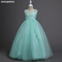 In Stock Chic Mint Flower Girl Dresses Ball Gown Satin Tulle Bow First Holy Communion Dresses