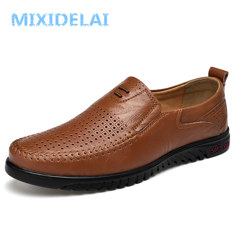 MIXIDELAI big size 37-47 men shoes summer breathable casual slip on men loafers luxury brand male moccasins fashion men's flats цена 2017