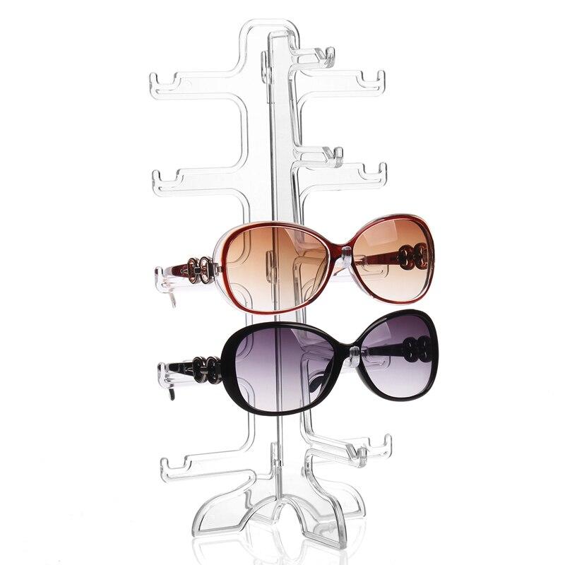 Mode Pratique Clair 5 Pairs Verre Stand Support De Lunettes De Soleil Lunettes Rack Affichage Organisateur lunettes de Soleil Cadre Étagère Vitrine