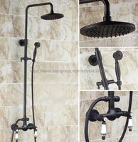 Oil Rubbed BronzeBathroom Shower Faucet Set Single Handle 8 Rainfall Shower System with Handshower Brs513
