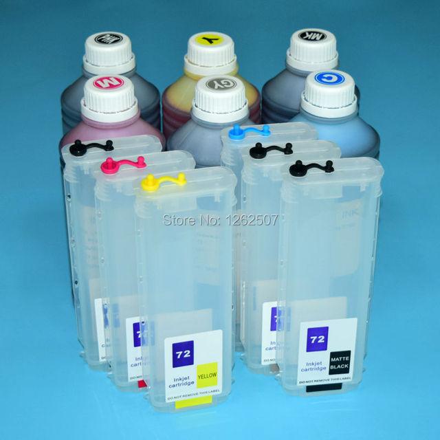 6Pcs+6Pcs HP72 Printing Dye Pigment Ink and Refillable Cartridge For HP Designjet T610 T770 T790 T1100 T2300 T795 Plotters
