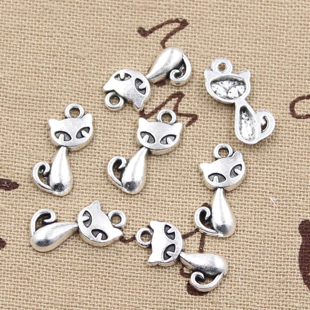 15pcs Charms cat fox 17x9mm Antique Making pendant fit,Vintage Tibetan Silver,DIY bracelet necklace