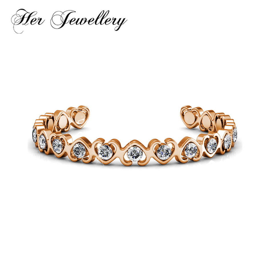 Her Jewellery Heart bracelet Open bracelet 2018 Trendy product Made with crystals from Swarovski HB0081 trendy letter heart round rhinestone bracelet for women