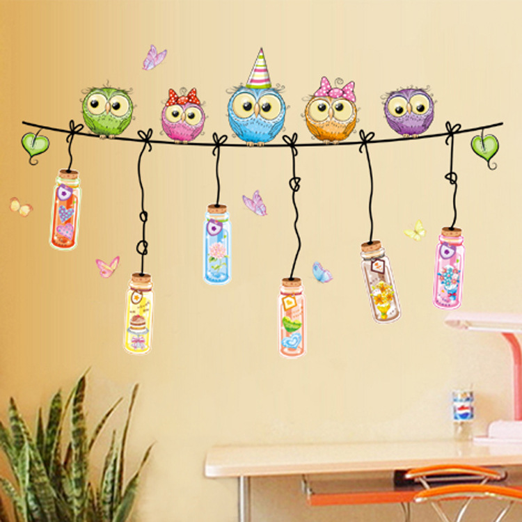 The kindergarten classroom layout cartoon owl wall stickers home ...