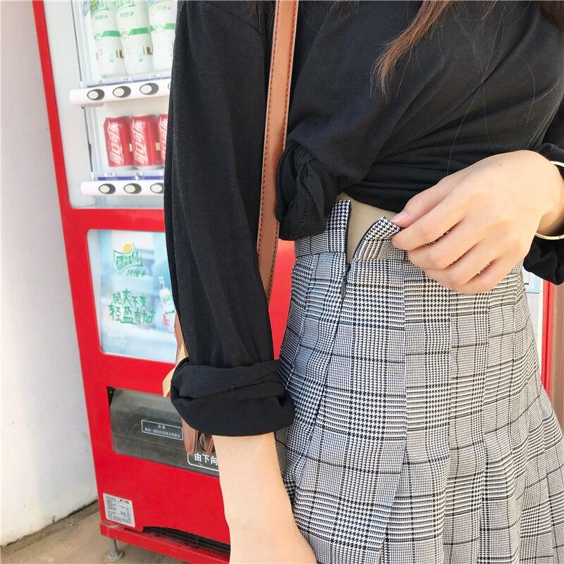 c5c330edcaa Women High Waist Mini Skirt Korean Harajuku Plaid Skirts 2018 Summer  Fashion Chic School Style Cotton Blend Grey Pleated Skirt-in Skirts from  Women s ...