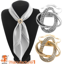 2017Dual purpose scarf accessories jewelry   plated alloy twine scarf clip brooch for scarf rhinestone brooch