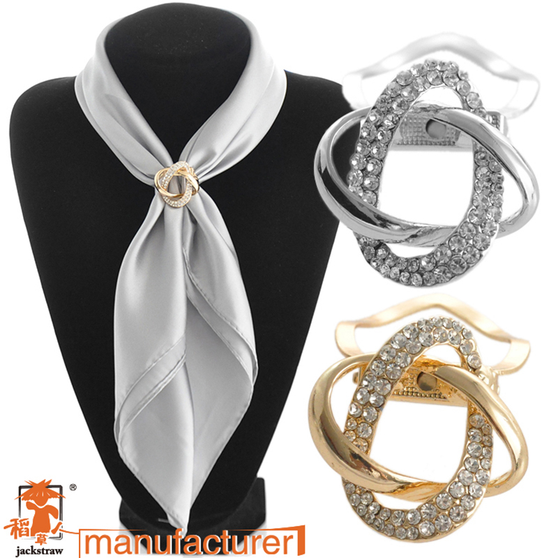 2018Dual purpose scarf accessories jewelry   plated alloy twine scarf clip brooch for scarf rhinestone brooch