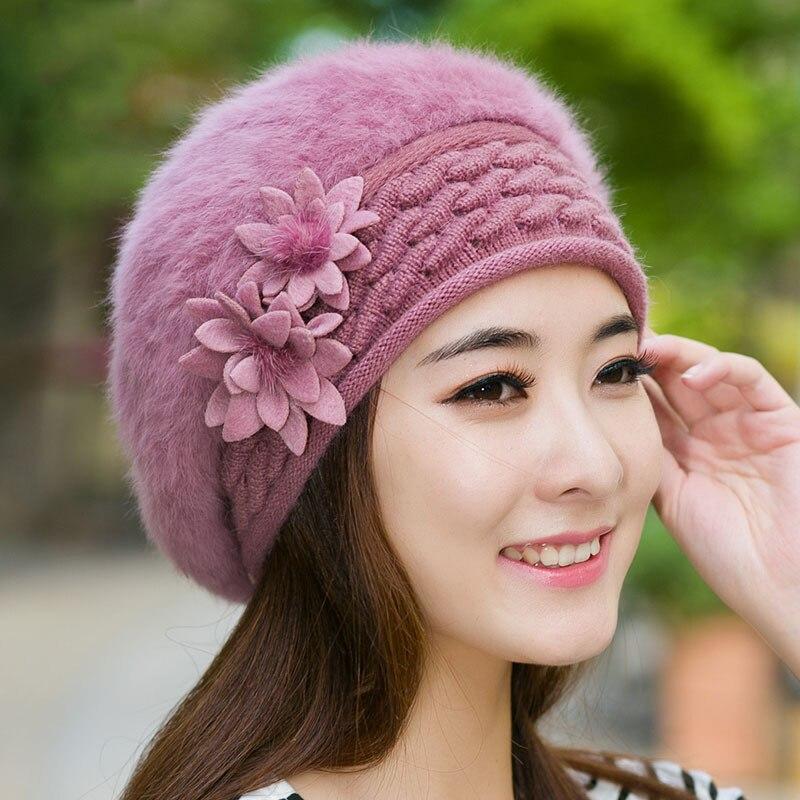 Winter Christmas Warm Hats Caps for Women Beret Lady Soft Rabbit Fur with  Flowers Knitted Cap Feminino Elegant Stewardess Hats a1dd51811ab