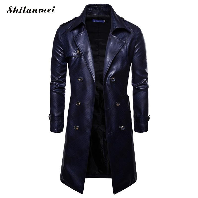 Men Long Trench Coat 2018 New Fashion Autumn Spring PU Leather Long Overcoat British Double Breasted Slim Fit Male Coat Trench