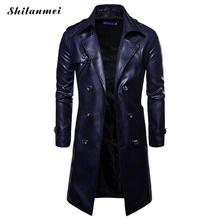Men Long Trench Coat 2019 New Fashion Autumn Spring PU Leather Overcoat British Double Breasted Slim Fit Male