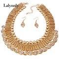 Conjunto de Joyería de Moda Para Las Mujeres de Color oro Accesorios de Última Moda de Perlas Collar Pendientes Collar de la Boda Establece Africana N37831