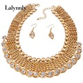 Gold Color Fashion Jewelry Set For Women African Beads Collar Wedding Necklace Earrings Sets  Latest Fashion Accessories N37831
