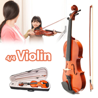 4/4 Full Size Maple Wood Violin with Bow Case Solid Wood Violins for Kids Students Beginner Mute Bow Strings
