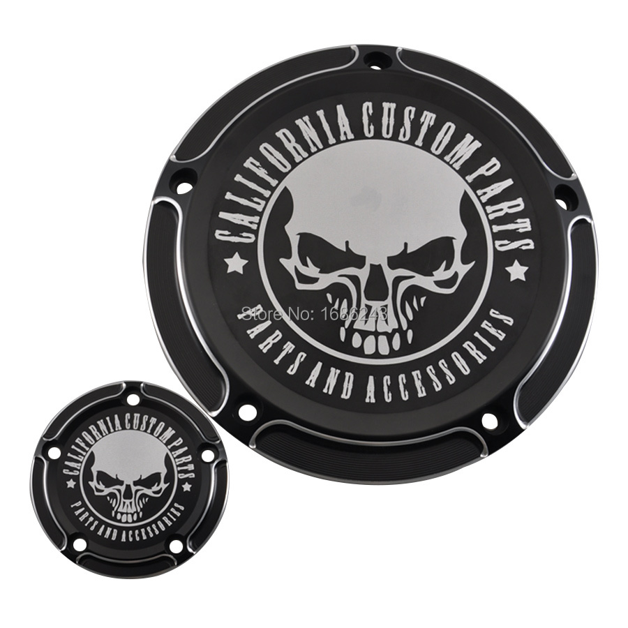 California Custom Skull Derby Timer Clutch Timing Covers Master Cylinder Chain Inspection Cover Fit For HarleyDyna