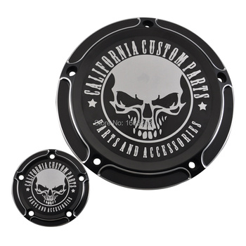Custom Skull Derby Timer Clutch Timing Covers Master Cylinder Chain Inspection Cover Fit For Harley Dyna Softail 99-17