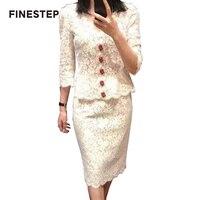 Женские комплект из 2 частей юбка и рубашка с v образным вырезом белые кружевные топы с рукавами 2 шт. кружевная юбка комплект с топом