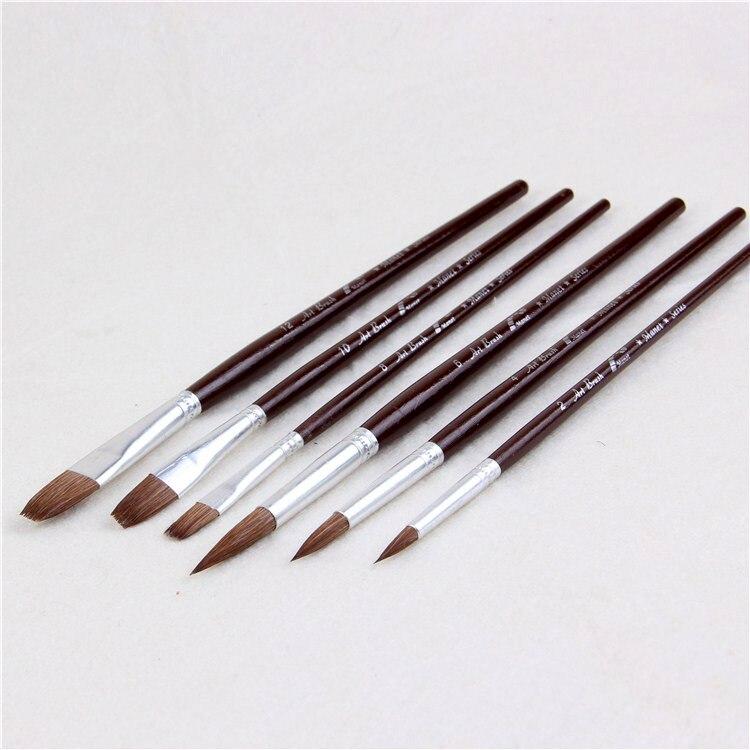 MANET Boutique Wolf Hair Paint Brush Watercolor Gouache Painting Three Circular Three Flat Set Brush Drawing Paint Brush Art Pen