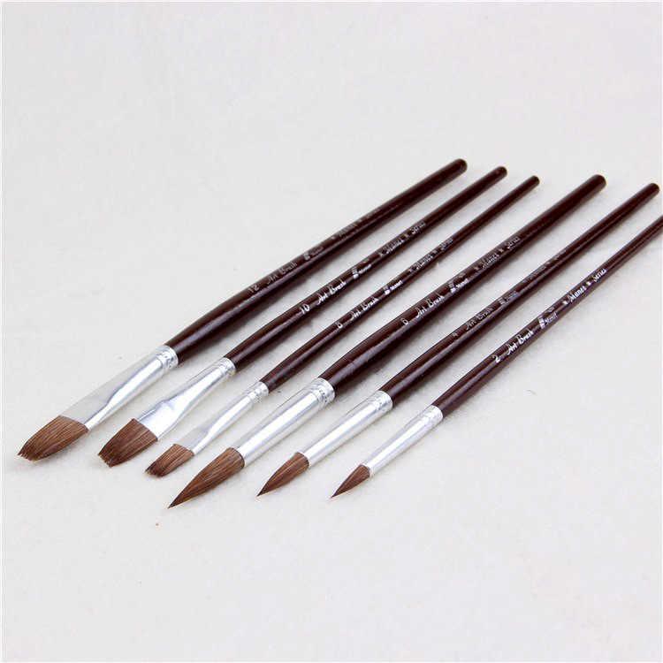 MANET butik Serigala Rambut cat kuas Cat Air Guas Lukisan tiga melingkar tiga datar Set sikat kuas cat Gambar pena art