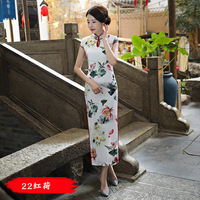 New High Fashion Silk Satin Mandarin Collar Cheongsam Chinese Traditional Print Qipao Flower Classic Long Dress Plus Size M 3XL