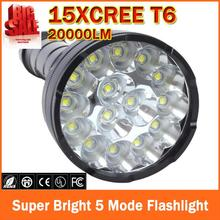 20000 Люмен 15 х CREE XM-L2 LED 5 Light Режимы Водонепроницаемый Супер Яркий Фонарик Факел с 1200 м Расстояние Освещения