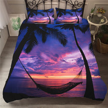A Bedding Set 3D Printed Duvet Cover Bed Set Holiday Coconut Tree Home Textiles for Adults Bedclothes with Pillowcase #YS09