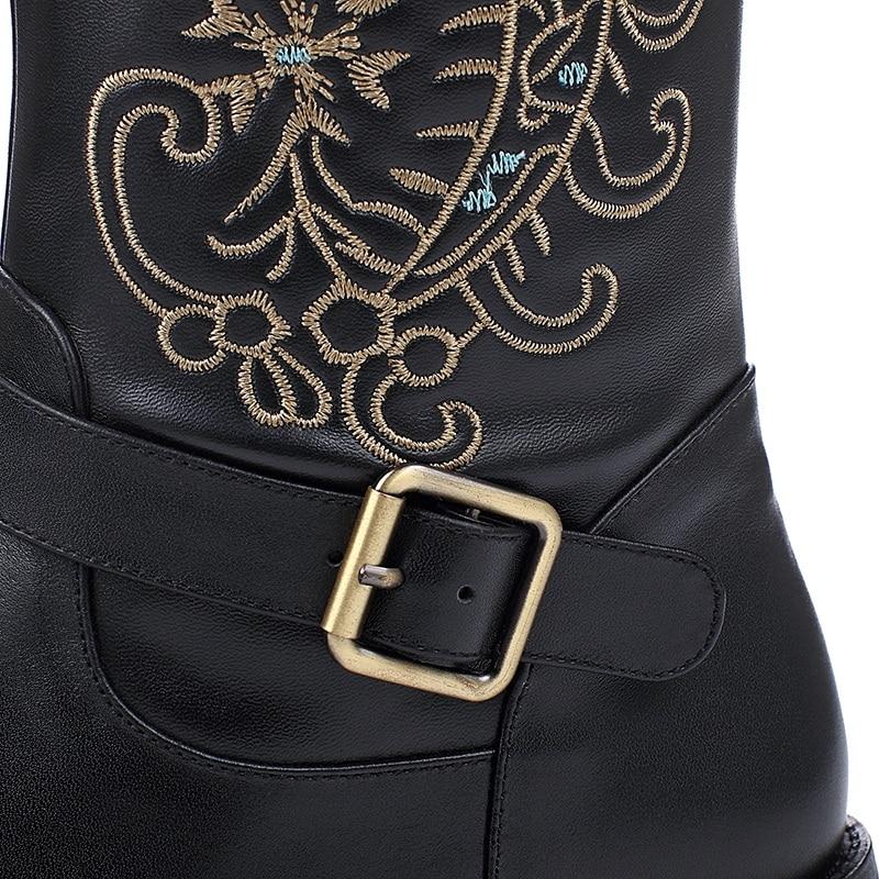 Vankaring Alto Sexy Tacón Arranque Mujer Botas Borda Invierno Caliente Marca Toe Round Cuero Black Vaquero Cuña Ladies De Rodilla Nieve AX8Arq1