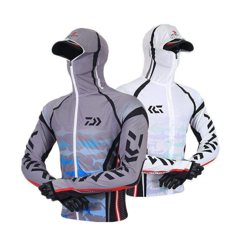 2018 Summer Daiwa Dawa Outdoor Fishing Sunscreen Fishing Shirt Breathable Ice Silk Mosquito Long Sleeves black zipper design long sleeves shirt