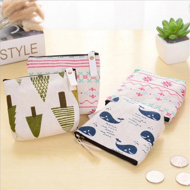 eTya 1PCS Mini Women's Purse Coin Holder Wallet Money Bags Canvas Coin Key Card  Wallet  Zipper Change Case Purses