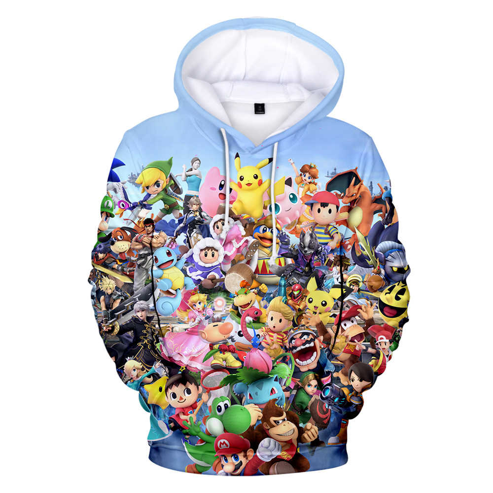 Nwe laatste hooded sweatshirt Super Smash Bros. Ultieme 3D hooded sweater mannen vrouwen O-hals casual shirt 3D hooded sweatshirt
