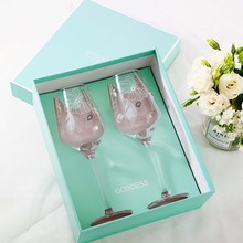 2pcs High-grade wine glass cup Hand carved flower Lead-free crystal champagne cups drinking wedding glasses Gift box set