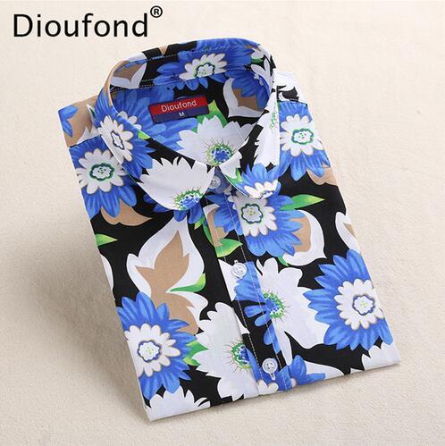 Dioufond 5XL Floral Blouse Summer Shirt Women Fruit Long Sleeve Tops Cotton Shirts Pink White Blouses Blusas Femininas 2016 New
