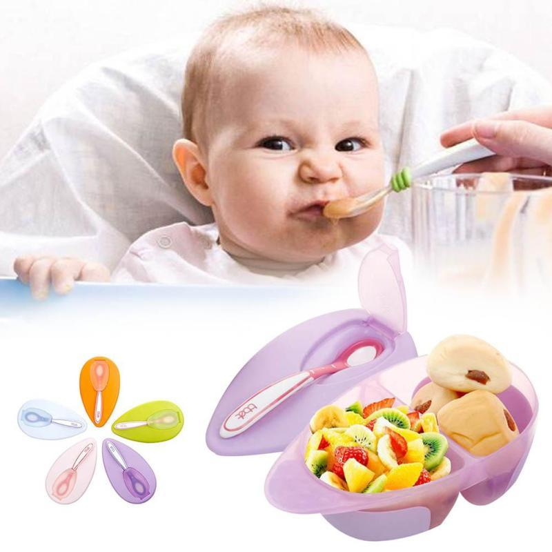 High Quanlity Baby Tableware Dinnerware Bowl With Temperature Sensing Spoon  Baby Food Baby Feeding Bowls D3