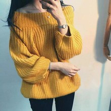MUMUZI Off shoulder knitted sweater women 2017 Autumn white oversized sweaters and pullovers pink jumper pull femme sweaters