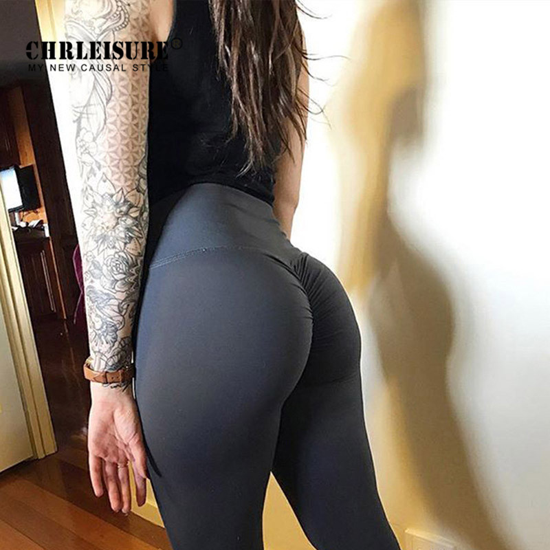 CHRLEISURE VIP   leggings   Women Solid color high waist hip Fitness   Legging