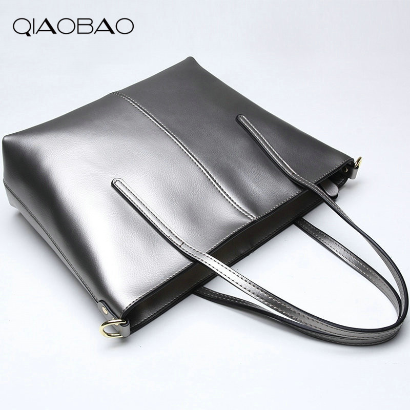 QIAOBAO 100% Cowhide leather handbags large bag European and American fashion pearl leather shoulder Messenger bag Shopping Tote loeil leather ladies bag european and american fashion handbags shoulder messenger bag cowhide handbags bag