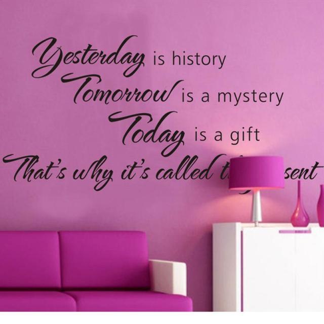 Venda quente quente! Ontem é história de amanhã é um misterioso adesivos de parede de vinil oferta para falar