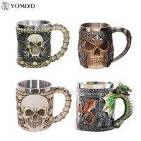 5 Design Creative Double Wall Stainless Steel 3D Skull Mugs Coffee Mug Skull Knight Tankard Dragon