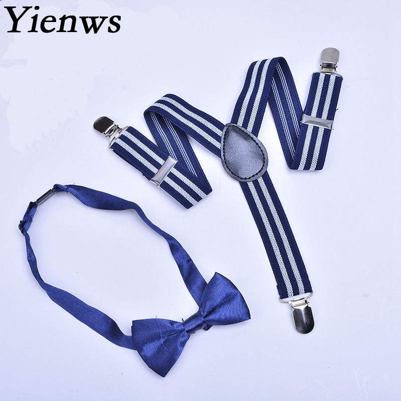 Yienws Wholesale 100piece Striped Navy Bow Tie Suspenders Kit For Kids Boys 3 Clip Adjustable Pants Braces For Children YiA004
